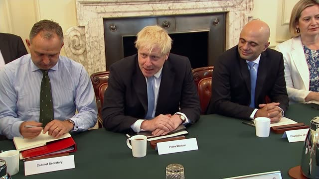 boris johnson pledges october 31st withdrawal in first commons statement as pm; uk, london: new prime minister boris johnson chairs his first cabinet... - prime minister stock videos & royalty-free footage