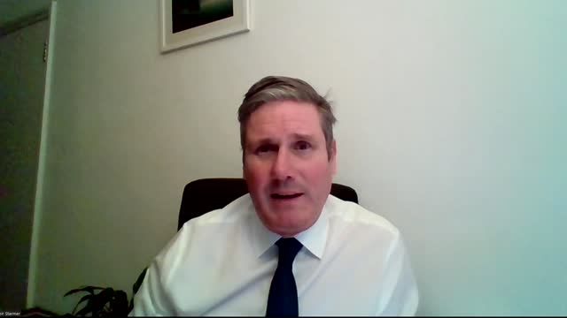 """stockvideo's en b-roll-footage met boris johnson says no-deal brexit a """"strong possibility"""" following brussels meeting with ursula von der leyen; england: int sir keir starmer mp 2 way... - politics"""