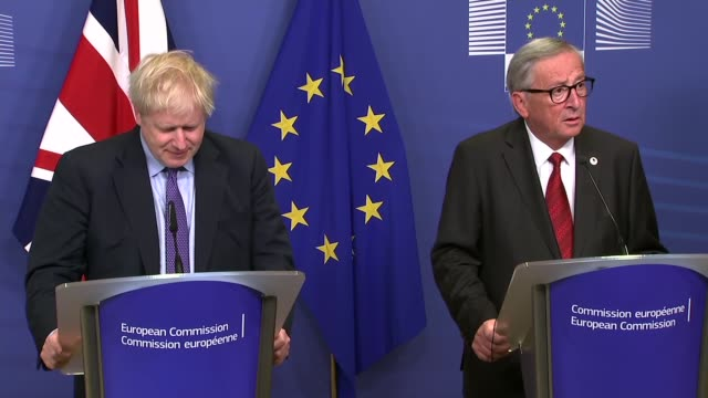 boris johnson secures deal: boris johnson and jean-claude juncker press conference; belgium: brussels: int boris johnson mp and jean-claude juncker... - brussels capital region stock videos & royalty-free footage