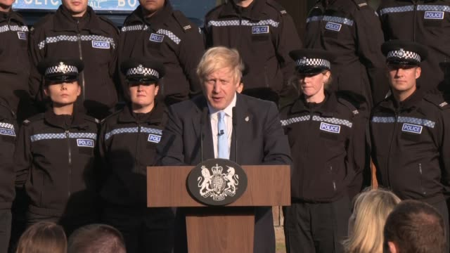 boris johnson speech in wakefield; england: west yorkshire: wakefield: ext boris johnson mp question and answer session sot part 3 of 3 / police... - west yorkshire stock videos & royalty-free footage