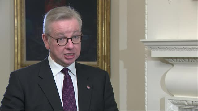 stockvideo's en b-roll-footage met boris johnson to travel to brussels for direct talks with ursula von der leyen; england: london: int michael gove mp interview sot. - secured... - politics