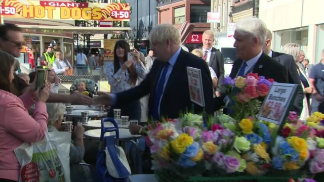 boris johnson visits doncaster market uk south yorkshire prime minister boris johnson tours doncaster outdoor market england south yorkshire... - market stock videos & royalty-free footage
