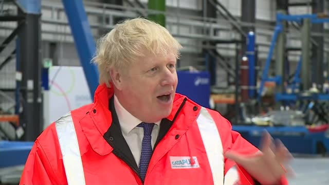 """boris johnson warns that no-deal brexit is now """"very, very likely""""; uk, northumberland: prime minister boris johnson visits ore catapult wind turbine... - fishing industry stock videos & royalty-free footage"""