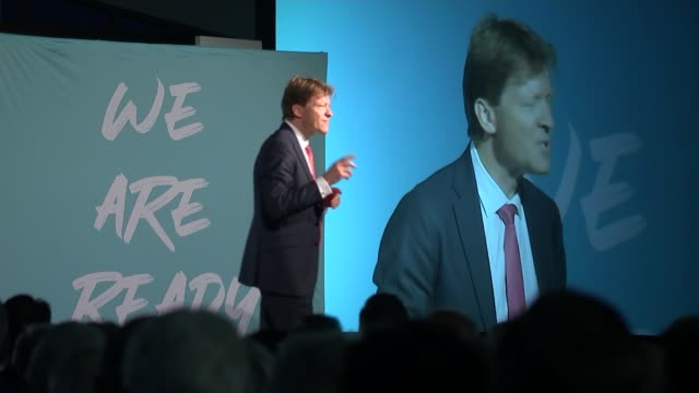 brexit party getting ready to take on boris johnson in an election england kent maidstone int richard tice mep on stage and crowd cheering richard... - preparation stock videos & royalty-free footage