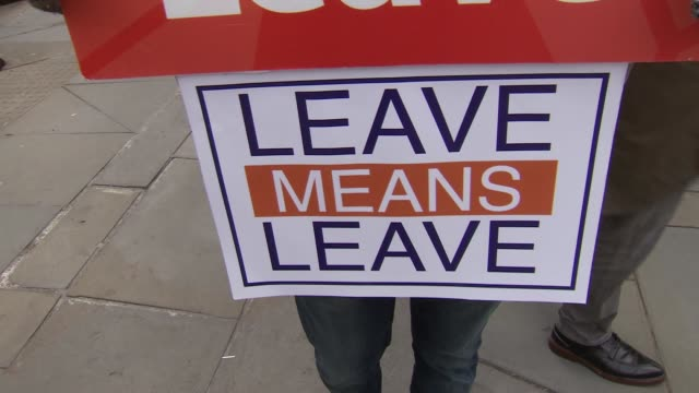 brexit protesters in westminster; england: london: westminster: ext pro-brexit and anti-brexit protesters with signs 'we voted leave', 'leave means... - protestor stock videos & royalty-free footage