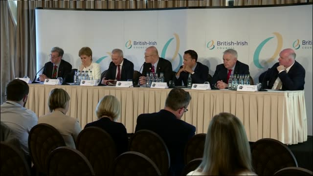 british irish council summit: press conference; channel islands, guernsey: nicola sturgeon, david lidington, carwyn jones, and leo varadkar press... - guernsey stock videos & royalty-free footage
