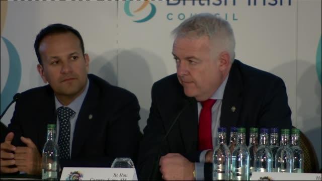 british irish council summit: press conference; channel islands, guernsey: nicola sturgeon, david lidington, carwyn jones, and leo varadkar press... - guernsey stock videos & royalty-free footage