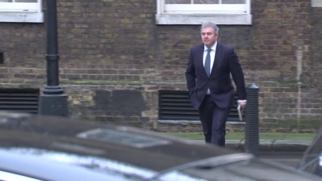 cabinet arrivals england london downing street ext cabinet arrivals greg clarke mp / liz truss mp / geoffrey cox mp / brandon lewis mp penny mordaunt... - liam fox politician stock videos and b-roll footage