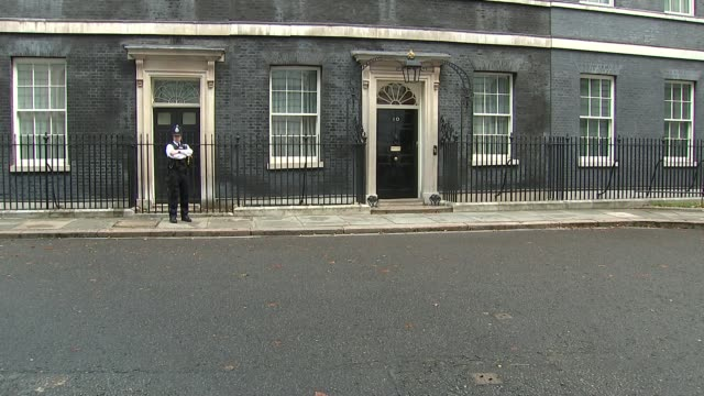 cabinet arrivals england london westminster downing street ext philip hammond mp arriving from car / damian hinds mp arriving / david gauke mp... - liam fox politician stock videos and b-roll footage