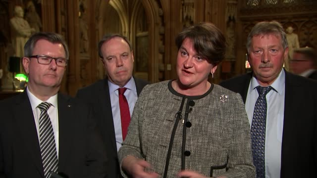 Cabinet backs Theresa May's draft withdrawal agreement ENGLAND London Westminster INT Arlene Foster MLA statement SOT she has said she will not break...