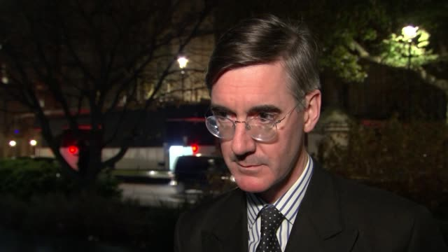 Cabinet backs Theresa May's draft withdrawal agreement ENGLAND London Westminster Jacob ReesMogg MP setup shots and interview SOT people thinking of...