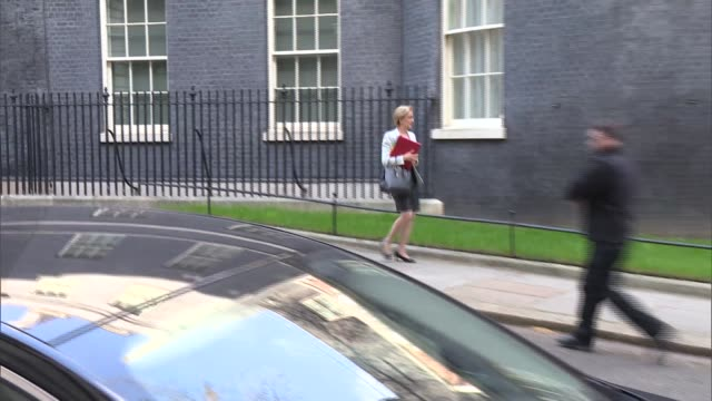 cabinet departures - alternative angle; england: london: westminster: downing street: ext matt hancock mp away / andrea leadsom mp away / jeremy hunt... - welsh culture stock videos & royalty-free footage