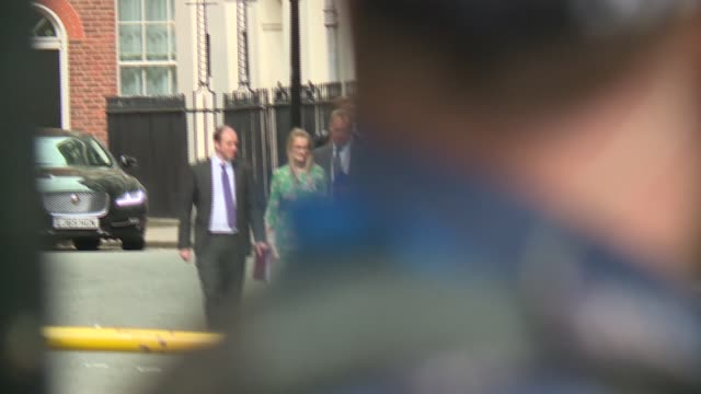 cabinet departures from downing street gates uk london westminster whitehall cabinet departures through downing street gates england london... - welsh culture stock videos & royalty-free footage