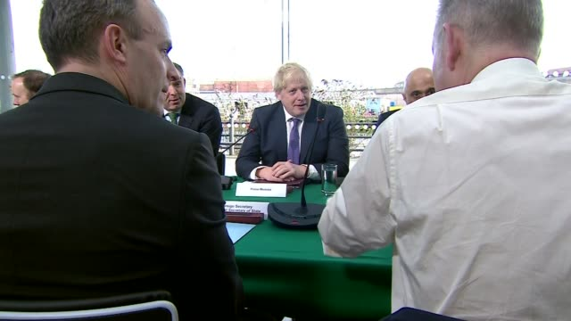 cabinet meeting in sunderland england tyne and wear sunderland national glass centre int gvs cabinet ministers around table including boris johnson... - priti patel stock-videos und b-roll-filmmaterial
