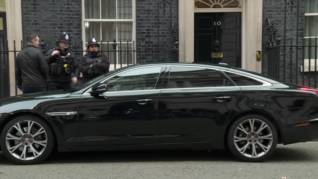 cabinet ministers arrive for meeting england london downing street ext amber rudd mp arriving / penny mordaunt mp out of car as arriving / liam fox... - liam fox politician stock videos and b-roll footage