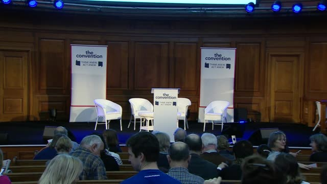 caroline lucas mp speech; england: london: westminster: emmanuel centre: int signage 'the convention: think anew, act anew, another vote is possible'... - youth organisation stock videos & royalty-free footage