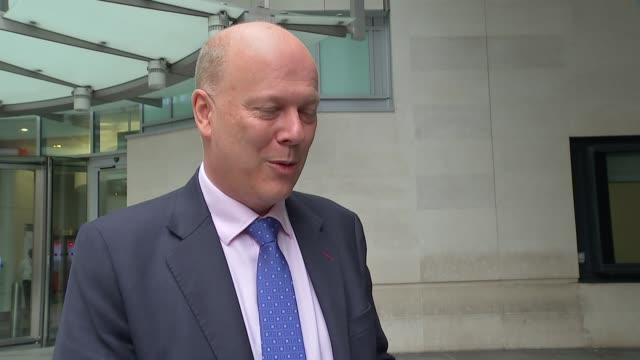 Chris Grayling and John McDonnell doorstep ENGLAND London Marylebone New Broadcasting House EXT Chris Grayling MP interview SOT re Brexit / Cabinet...