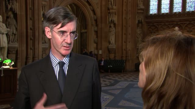 Commons vote on EU Withdrawal Bill amendments ENGLAND London Westminster Westminster Palace Jacob ReesMogg MP setup with reporter and interview SOT...
