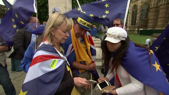 commons vote on eu withdrawal bill amendments uk london westminster pro eu / anti brexit protest outside parliament england london westminster ext... - top hat stock videos & royalty-free footage