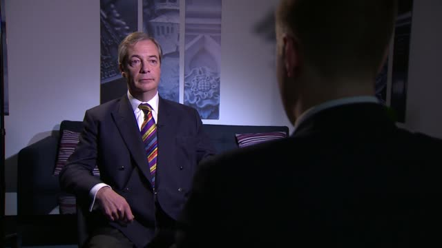 cross-party talks stall as theresa may seeks delay to brexit; england: london: westminster: int nigel farage mep interview sot - mep stock videos & royalty-free footage