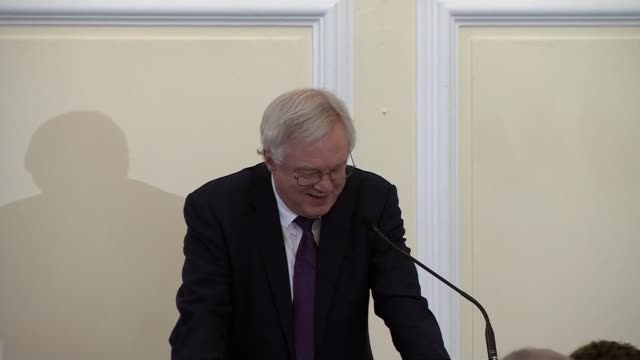David Davis speech to European Conservatives and Reformists Group ENGLAND London Westminster Methodist Central Hall INT Man introducing Brexit...