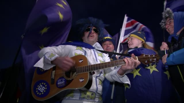 Donald Tusk hints Britain could remain in Europe Unidentified Location Various of 'Stop Brexit' Remain campaigner strumming guitar and singing Elvis...