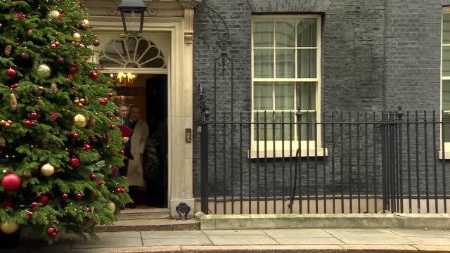 Downing Street Cabinet departures ENGLAND London Downing Street EXT David Gauke MP departure past Christmas tree / Karen Bradley MP departure / Gavin...