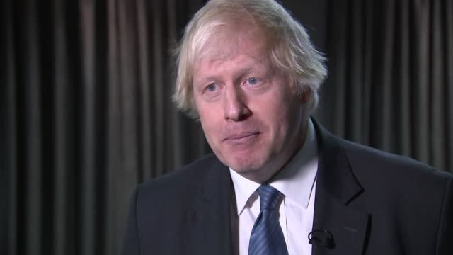 conference 2018: boris johnson interview; northern ireland: belfast: int boris johnson mp interview sot - democratic unionist party stock videos & royalty-free footage