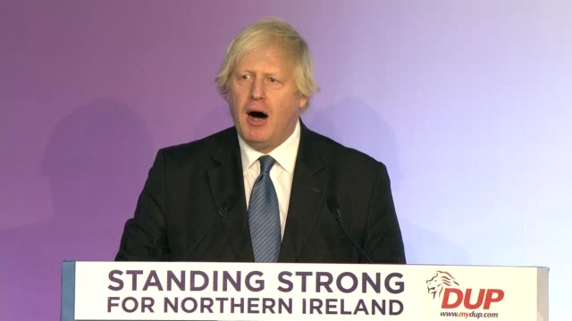 conference 2018: boris johnson speech; northern ireland: belfast: int boris johnson mp speech sot - democratic unionist party 個影片檔及 b 捲影像