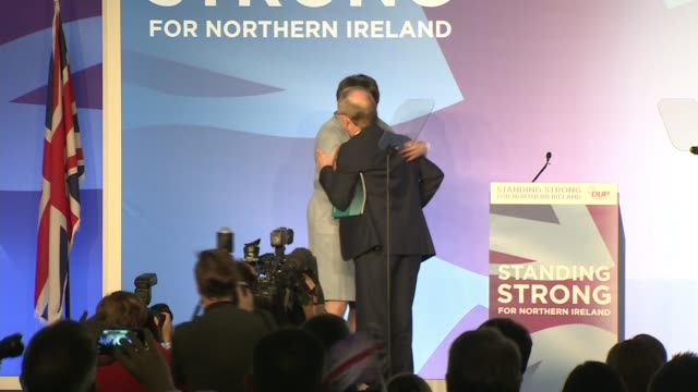 brexit / dup conference 2019: arlene foster criticises boris johnson's brexit deal; northern ireland: belfast: int **beware flash photography**... - dup stock-videos und b-roll-filmmaterial