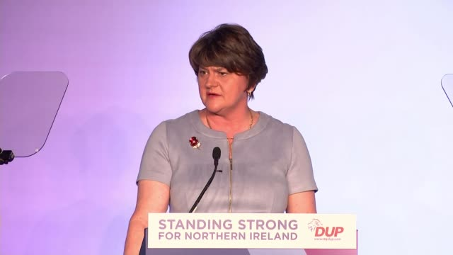 brexit / dup conference 2019: arlene foster criticises boris johnson's brexit deal; northern ireland: belfast: crowne plaza hotel: int arlene foster... - dup stock-videos und b-roll-filmmaterial