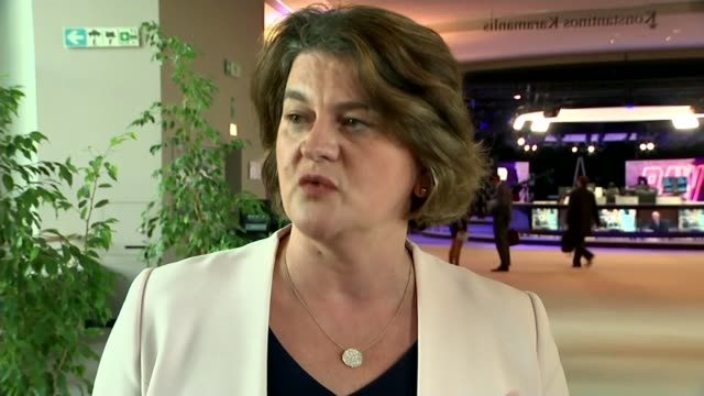 refuses to back government in commons vote; belgium: brussels: arlene foster mla towards and interview sot. - dup stock-videos und b-roll-filmmaterial