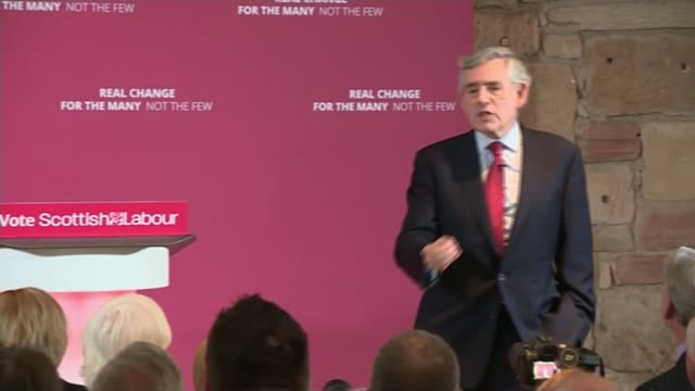 electoral commission reviewing brexit party funding scotland glasgow int gordon brown speech sot - ゴードン ブラウン点の映像素材/bロール