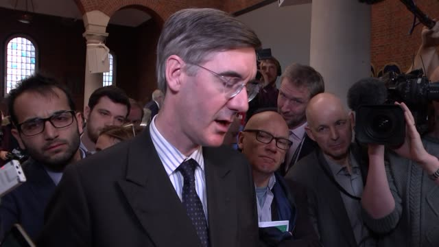 erg 'fact not friction' event cutaways england london int jacob reesmogg mp speaking to press at the european research group 'fact not friction'... - world trade organisation stock videos & royalty-free footage
