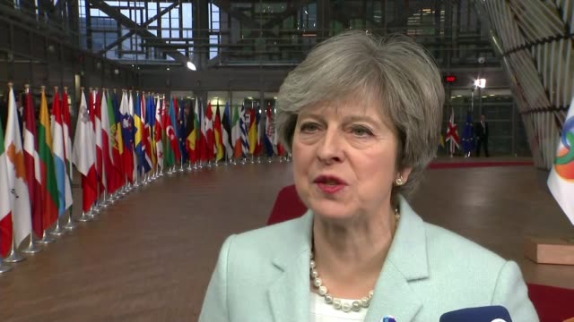 Donald Tusk warns that progress needed within next 10 days BELGIUM Brussels INT Theresa May MP speaking to reporters SOT I will be seeing President...