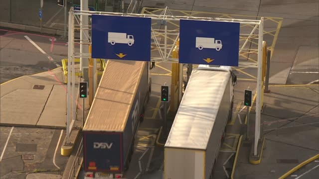 EU leaders agree talks can move on to phase two R110917011 / 1192017 Kent Dover Port of Dover High angle view of lorries along
