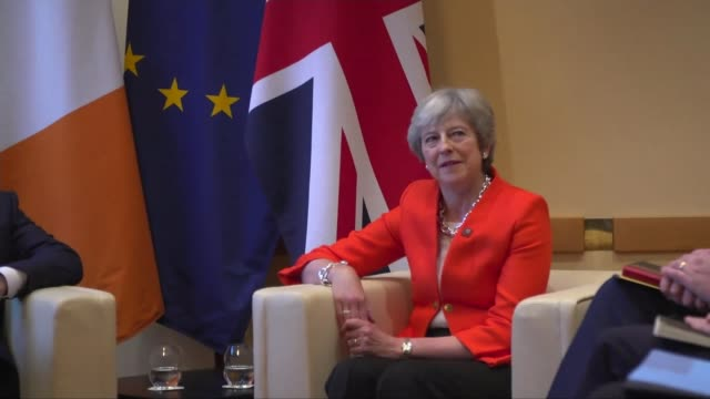EU leaders in Salzburg reject Theresa May's Chequers plan AUSTRIA Salzburg INT Various of Theresa May seated for photocall with Leo Varadkar