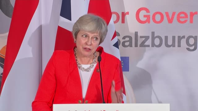 EU leaders in Salzburg reject Theresa May's Chequers plan Salzburg Austria Theresa May press conference AUSTRIA Salzburg INT Theresa May MP into room...