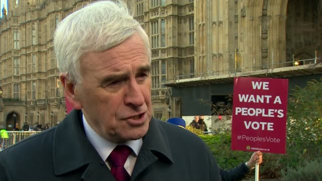 EU leaders say that withdrawal agreement is not open to further negotiation UK London John McDonnell MP interview general views of Houses of...