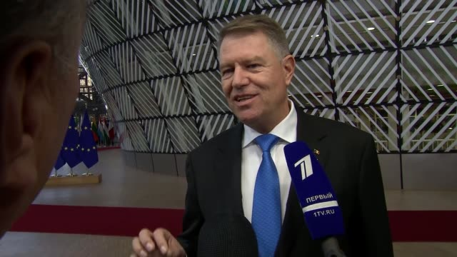 EU leaders say that withdrawal agreement is not open to further negotiation BELGIUM Brussels European Council INT Klaus Werner Iohannis speaking to...