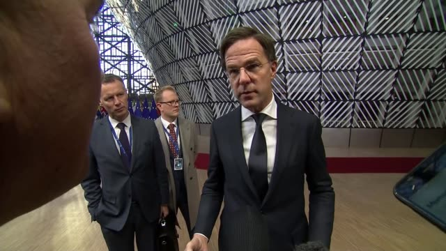 EU leaders say that withdrawal agreement is not open to further negotiation BELGIUM Brussels European Council INT Marke Rutte speaking to reporters...