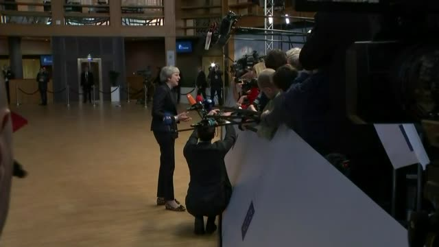 EU leaders say that withdrawal agreement is not open to further negotiation BELGIUM Brussels European Council EXT Theresa May MP speaking to press...