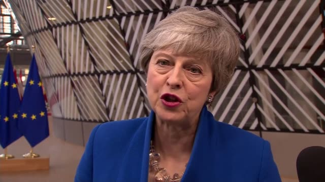 vídeos y material grabado en eventos de stock de eu leaders to decide on brexit extension belgium brussels european council theresa may mp interview sot the uk's request is for an extension to the... - brexit