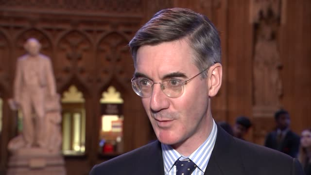 eu negotiating guidelines for brexit transition jacob reesmogg mp interview england london westminster house of commons lobby int jacob reesmogg mp... - guidance stock videos & royalty-free footage