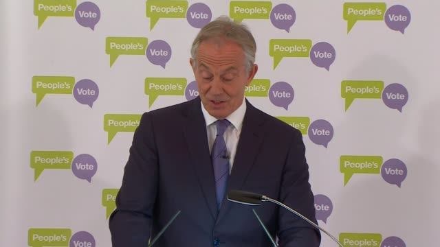 EU rebuffs May efforts to renegotiate withdrawal agreement raising the prospect of no deal ENGLAND London British Academy INT Tony Blair speech SOT