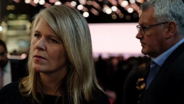 european car bosses warn about future of car industry in nodeal scenario paris france paris motor show gvs johan van zyl interview eiffel tower gvs... - トヨタ自動車点の映像素材/bロール