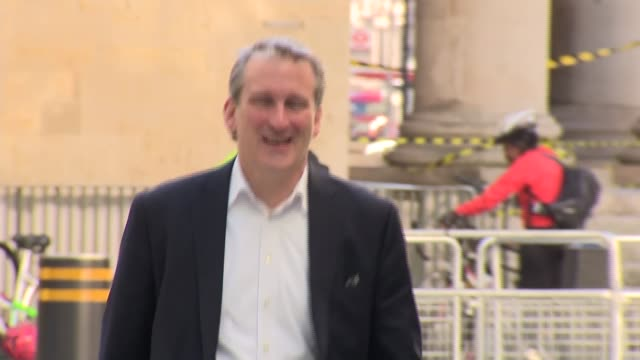 andrew marr show doorsteps england london new broadcasting house ext jon ashworth mp arriving / nigel farage mep arriving / damian hinds mp arriving... - damian hinds stock videos and b-roll footage