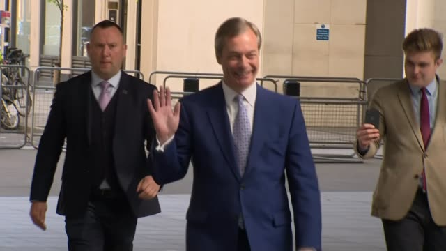 conservatives anticipate protest vote at polls england london westminster marylebone broadcasting house ext **farage interview partly overlaid sot**... - mep stock-videos und b-roll-filmmaterial