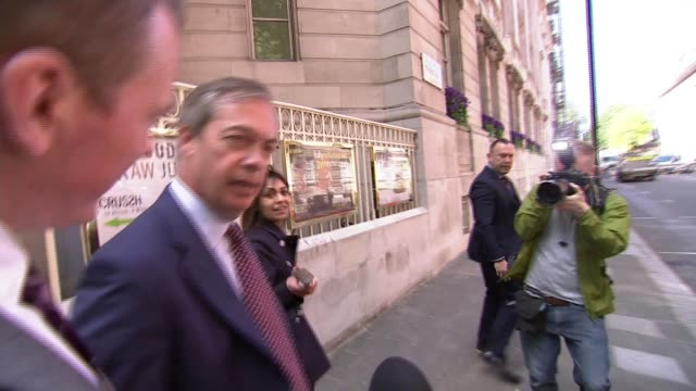 European Parliament to investigate donations made to Nigel Farage's Brexit Party ENGLAND London Nigel Farage doorstep interview SOT Farage into car...
