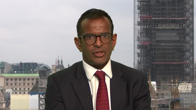 factcheck of the claims made by boris johnson and jeremy hunt regarding brexit england london westminster int anand menon interview sot - キャシー・ニューマン点の映像素材/bロール